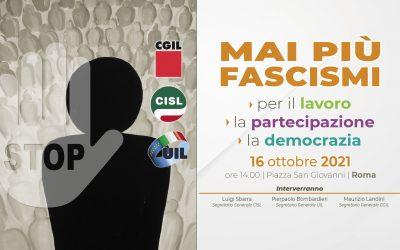 "Manifestazione Cgil Cisl Uil sabato 16 Ottobre a Roma. Sbarra: ""In piazza per riaffermare i valori democratici"""